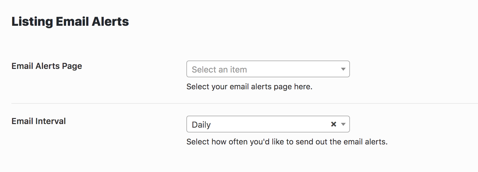 Saved Search & Email Alerts Admin Options